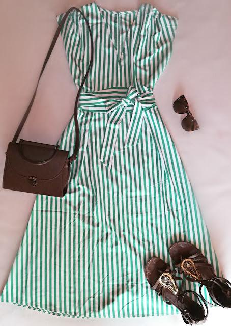 dress, stripes, haljina, prugice, green, zelena,