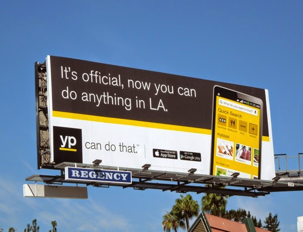 Its official now you can do anything in LA Yellow Pages billboard