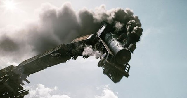Train crash scene from The Lone Ranger (2013)