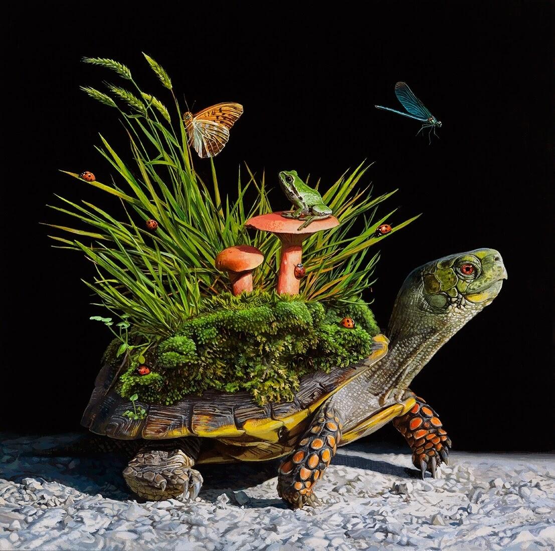 08-Terrarium-Lisa-Ericson-Animals-Interspecies-Friendships-Paintings-www-designstack-co