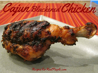 Enjoy your Cajun Blackened Chicken hot off the grill. Recipe from RecipesForRealPeople.com