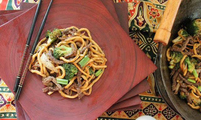 Food Lust People Love: A one-pot Chinese style dish, Black Pepper Beef with Broccoli and Noodles would be a delicious (and thrifty) addition to your Chinese New Year celebration menu.