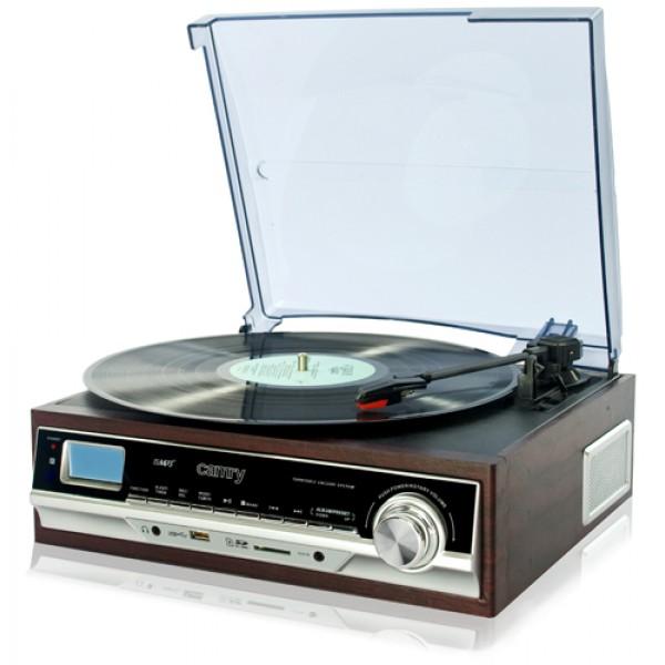 Недорогой проигрыватель виниловых дисков с usb-разъемом для флешек Camry CR1114 радио и записью в MP3