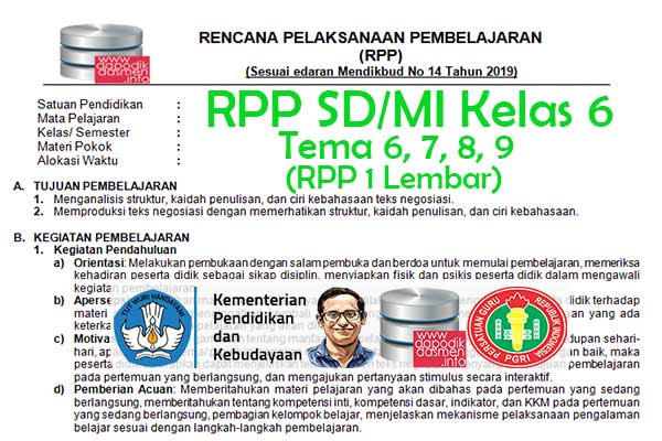 RPP 1 Lembar Tematik SD/MI Kelas 6 Tema 9 Subtema 1 2 3 4 Semester 1, Download RPP 1 Halaman Kelas 6 Tema 9 Subtema 1 2 3 4 Kurikulum 2013 SD/MI Revisi Terbaru, RPP Silabus 1 Halaman Tematik Kelas 6