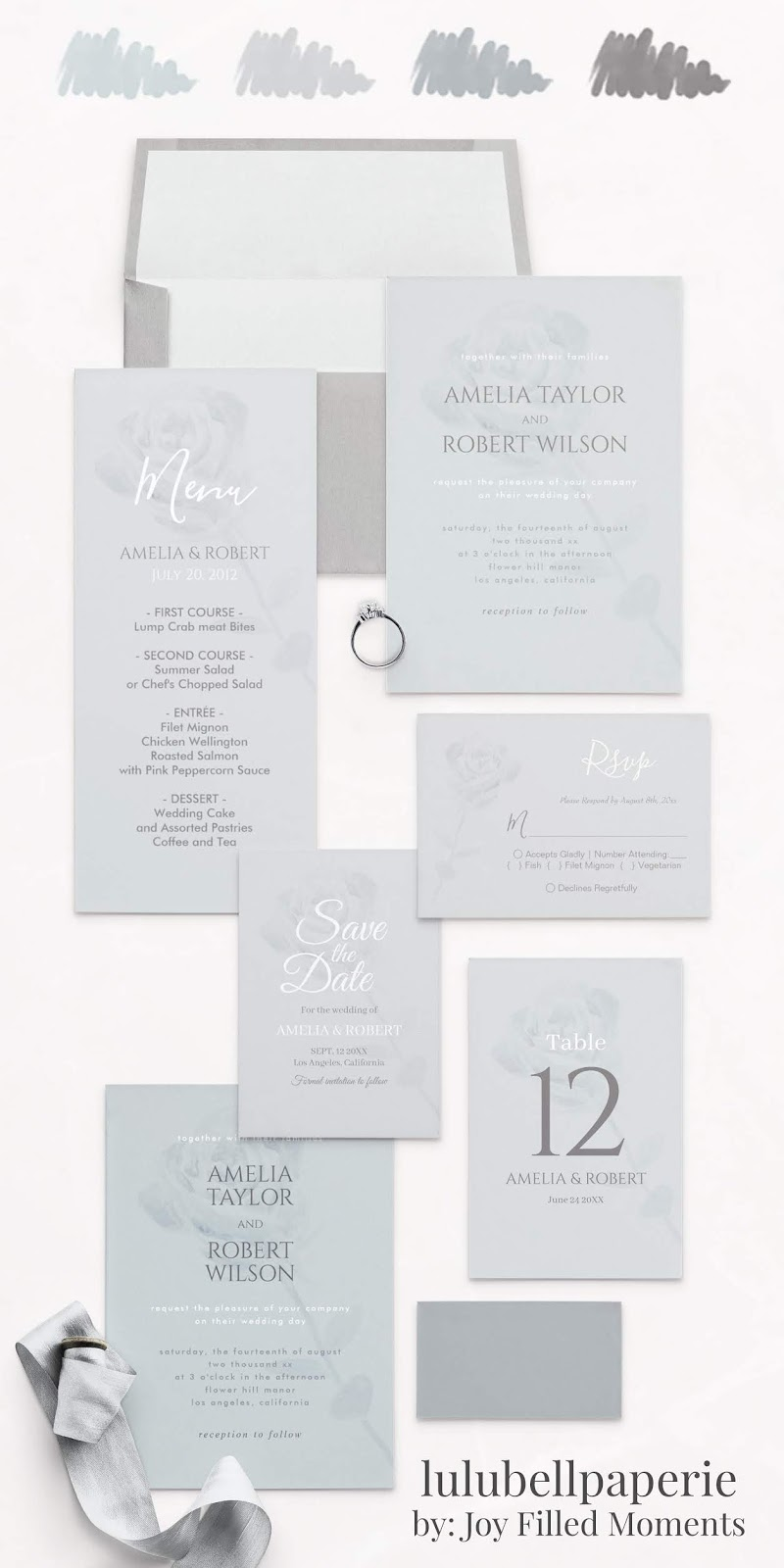 Dusty Blue and Gray Single Rose Minimalist Wedding Invitation Suite