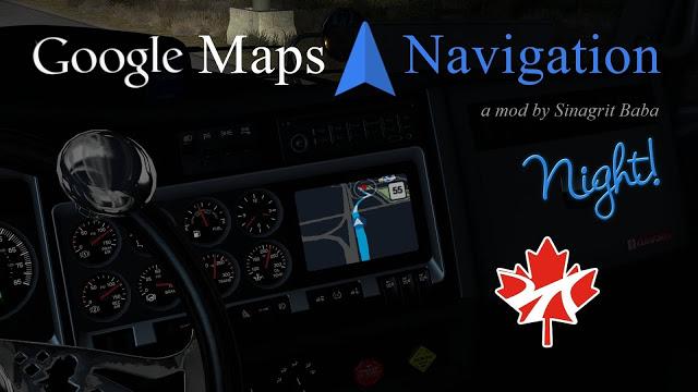 sinagrit baba ats mods, ats google maps navigation night version for promods canada