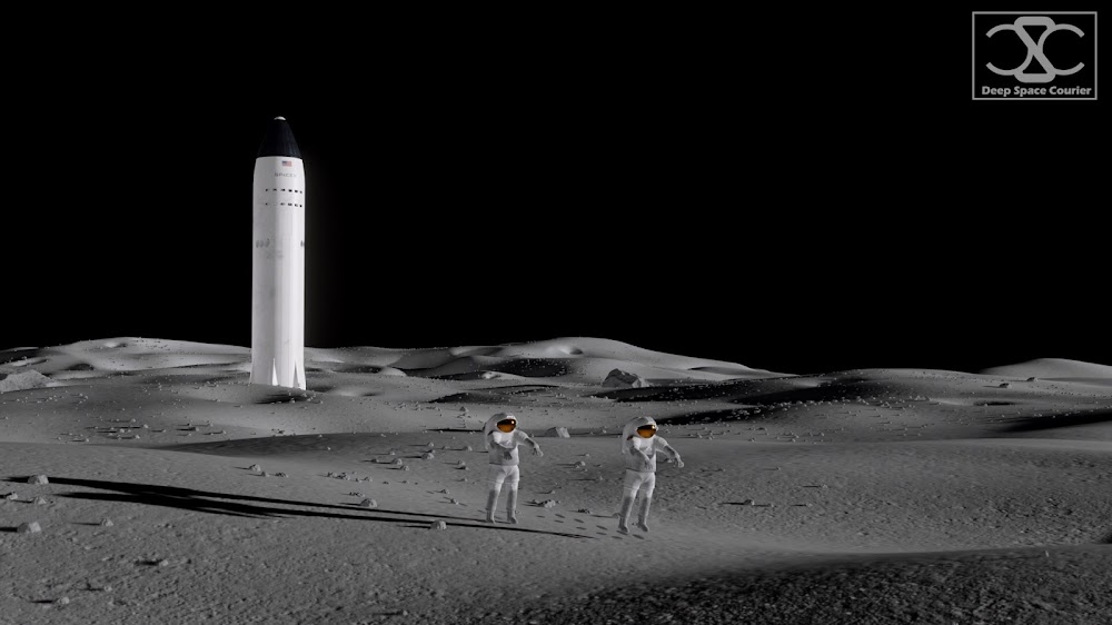 Astronauts on the Moon near SpaceX Lunar Starship by DeepSpaceCourier