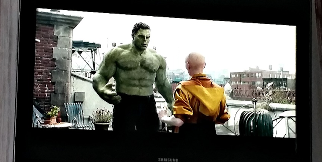 A photo of the TV. Avengers Endgame with the Hulk.