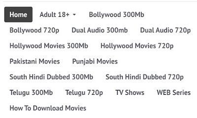 Categories of Movies on Bolly 4u 2020