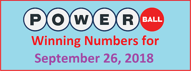PowerBall Winning Numbers for Wednesday, 26 September 2018