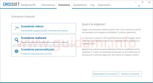 Emsisoft Emergency Kit schermata della sezione scansione