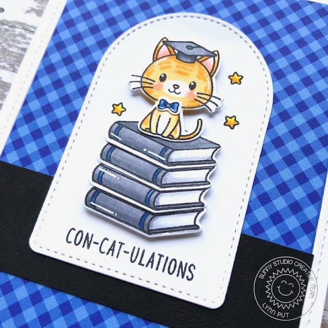 Sunny Studio Stamps: Grad Cat Frilly Frame Dies Stitched Arch Dies Cat Themed Congratulations Card by Lynn Put