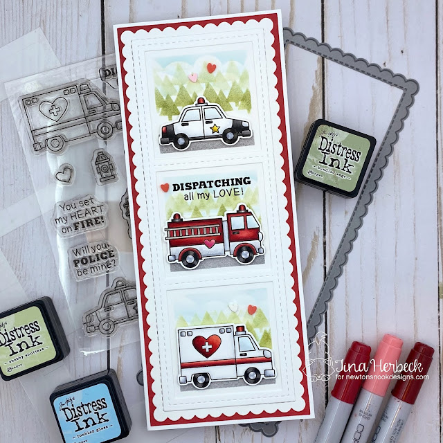 Emergency vehicles slimline Valentine card by Tina Herbeck | Love Emergency Stamp Set, Slimeline Frames & Portholes Die Set, Slimline Frames & Windows Die Set, Tiny Trees Stencil, Clouds Stencil and Slimline Masking Circles & Squares Stencil Set by Newton's Nook Design