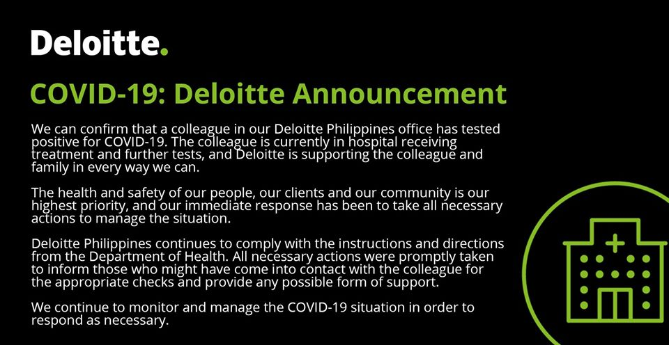 Deloitte Philippines says its employee tested positive for COVID-19