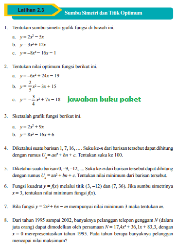 Lengkap Kunci Jawaban Buku Paket Matematika Latihan 2 3 Sumbu Simetri Dan Titik Optimum Halaman 102 103 Kelas 9 Kurikulum 2013 Kunci Jawaban Buku Paket Terbaru Lengkap Bukupaket