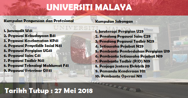 Jobs in University of Malaya (UM) (27 Mei 2018)