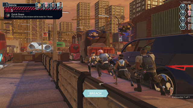 Screenshot of breaching sequence in the street in XCOM: Chimera Squad