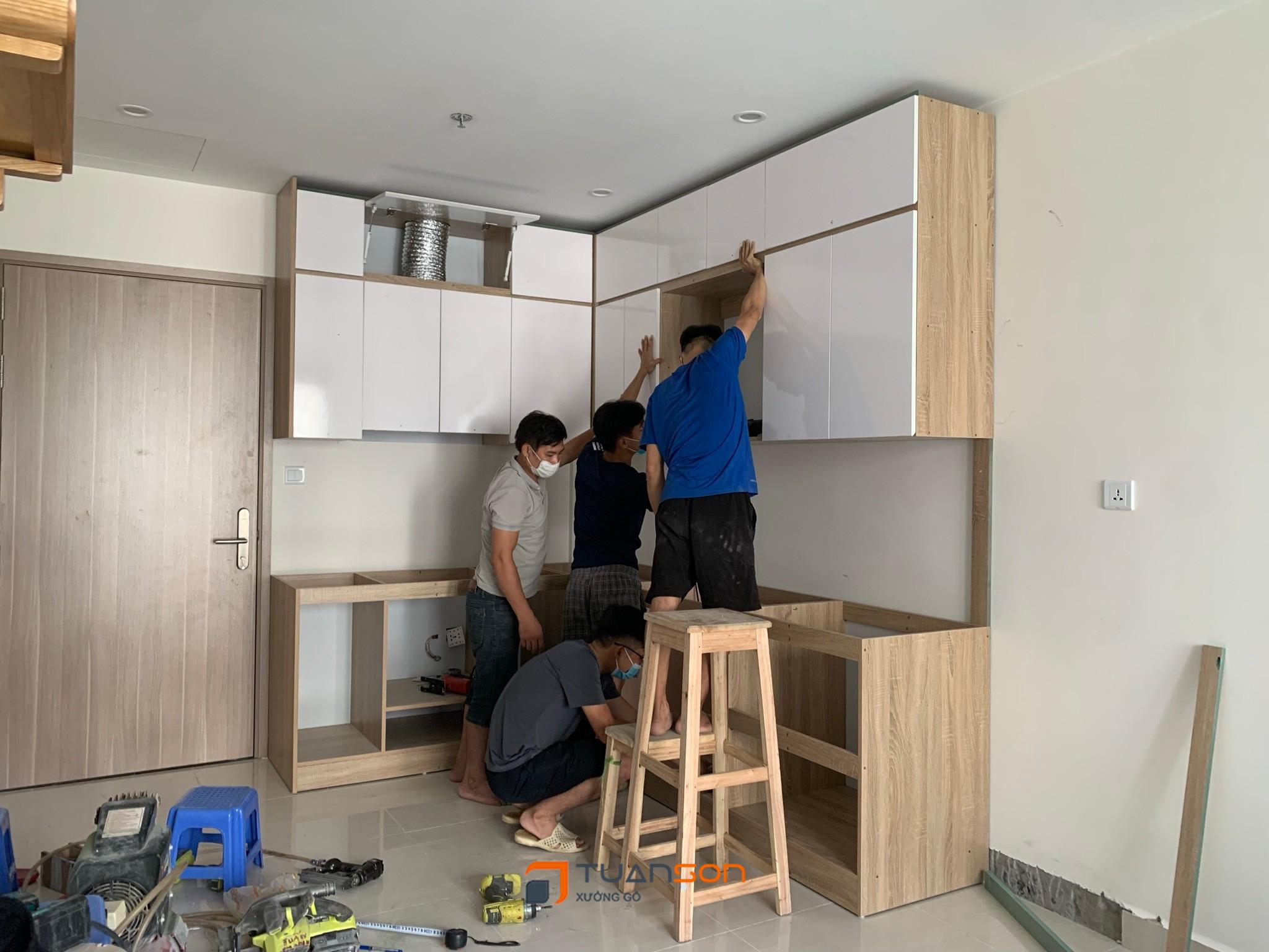 Hình ảnh thực tế thi công nội thất công trình 3PN S1.05-16 Vinhomes Ocean Park Gia Lâm