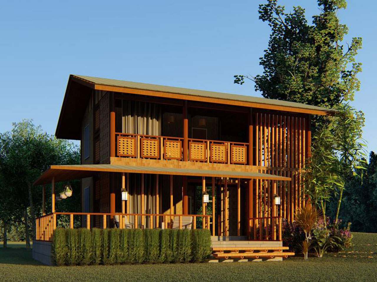 Desain Rumah Bambu Minimalis Modern