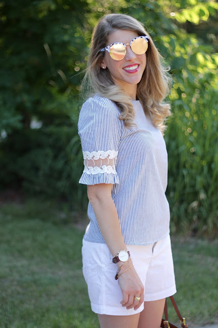 striped and lace top from sammydress, white shorts, leopard sandals, Tory Burch tote, mirrored sunglasses