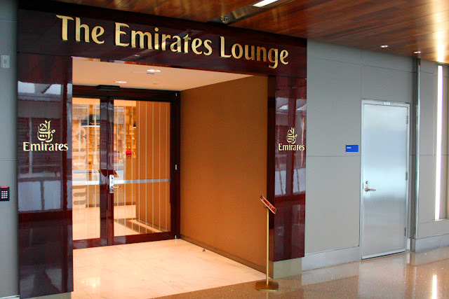 Entrance to Emirates Premium lounge at Los Angeles International (LAX)