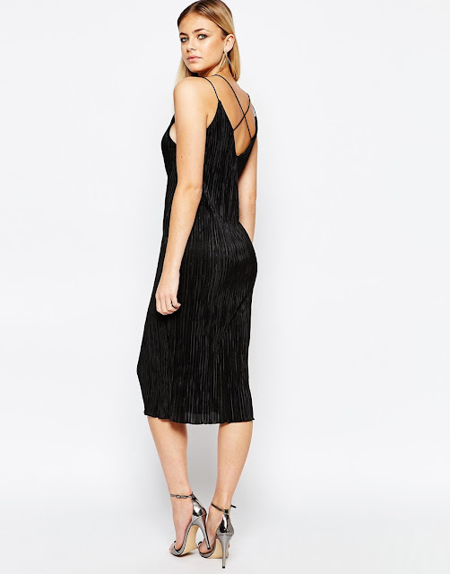 boohoo black cross back dress, black cross back midi dress,