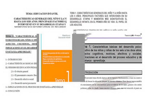 5 Ejemplos del tema 01 de Oposiciones al cuerpo de maestros de Infantil. Recopilados de Internet.