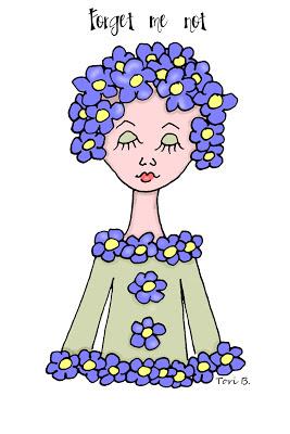 Free Crudoodle Digital Stamp, Fleur, Forget Me Not Color by Tori Beveridge
