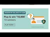 Amazon Pay Balance KYC Quiz Answers 25-Feb-2021 Play & Win 10,000