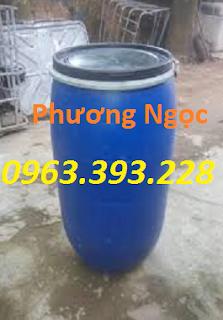 Thùng phuy nhựa nắp mở đã qua sử dụng, thùng phuy có đai sắt Th%25C3%25B9ng%2Bphuy%2Bc%25C5%25A9%2B160L