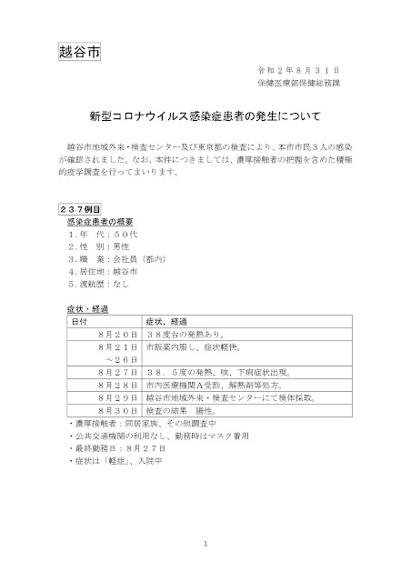 新型コロナウイルス感染症患者の発生について(8月31日発表)