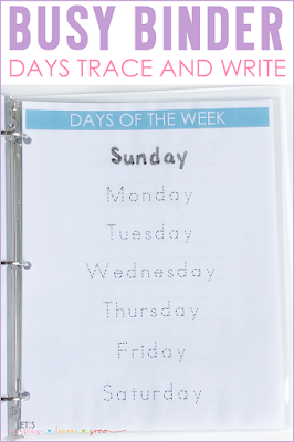 Days of the Week Tracing Page Busy Binder