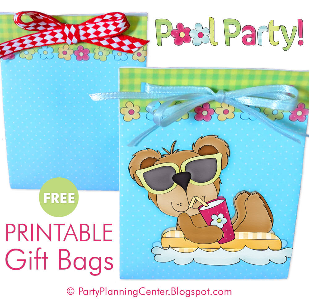 Pool party printable gift bags