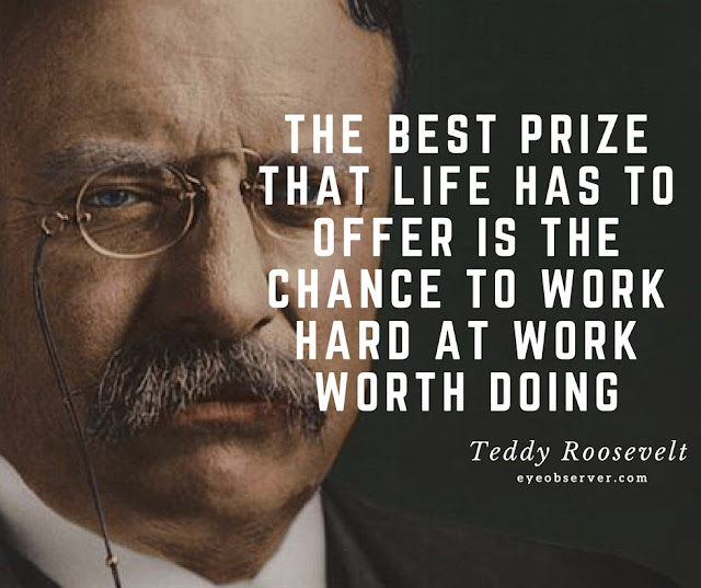Teddy Roosevelt Quotes The best prize that life has to offer is the chance to work hard at work worth doing