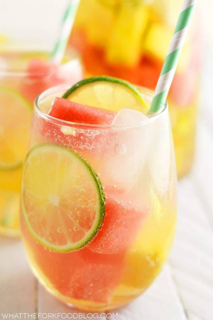 Summer Sangria with Watermelon and Pineapple #sangria #cocktail #recipes #drink #healthy