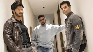 varun dhawan, shshank khaitan, karan johar at dharma production house office, andheri (west), mumbai