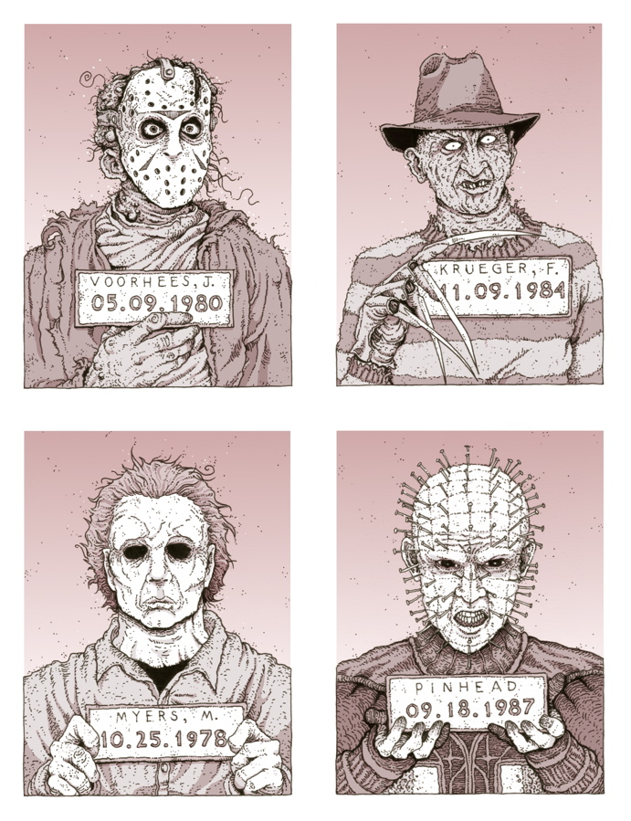 cody+schibi+jason+voorhees+friday+the+13th+freddy+krueger+nightmare+on+elm+street+michael+myers+halloween+pinhead+hellraiser+monster+mugshots.jpg