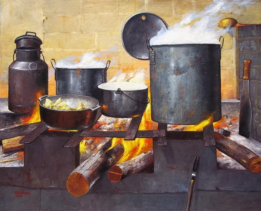 Cuadros modernos pinturas y dibujos pintura costumbrista for Elementos de cocina bogota