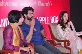 Aiswarya Rajinikanth Dhanush Standing on an Apple Box Launch Stills in Hyderabad  0067.jpg
