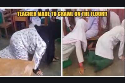 Astaga! Guru Dihukum Merangkak Oleh Wali Murid
