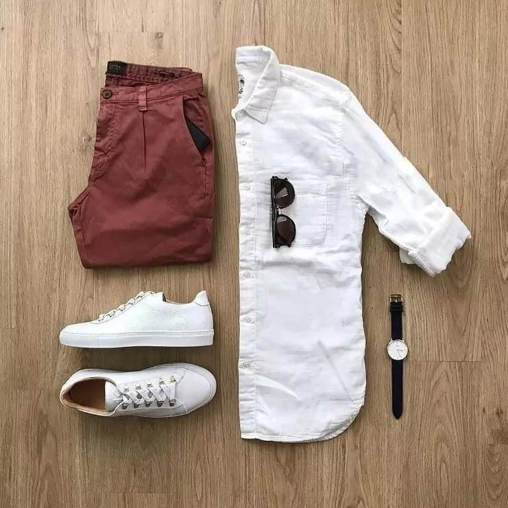 White with rusty orange