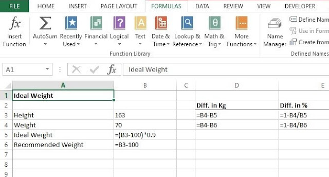 How to calculate BMI (Body Mass Index) in excel