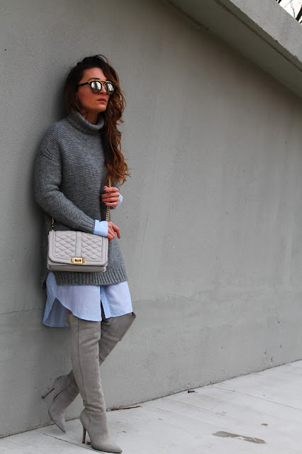 Oversized dressing, sweaterdress, over the knee outfit, cizme preko kolena, canadian fashion blogger, kako nositi dzemper haljinu, monochromatic outfit, outfit insipration, winter outfit, zara sweaterdress, outfits with over the knee boots
