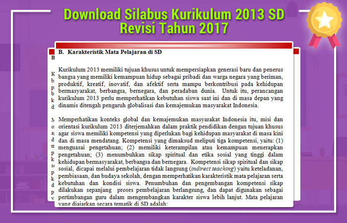 Download Silabus Kurikulum 2013 SD Revisi 2017