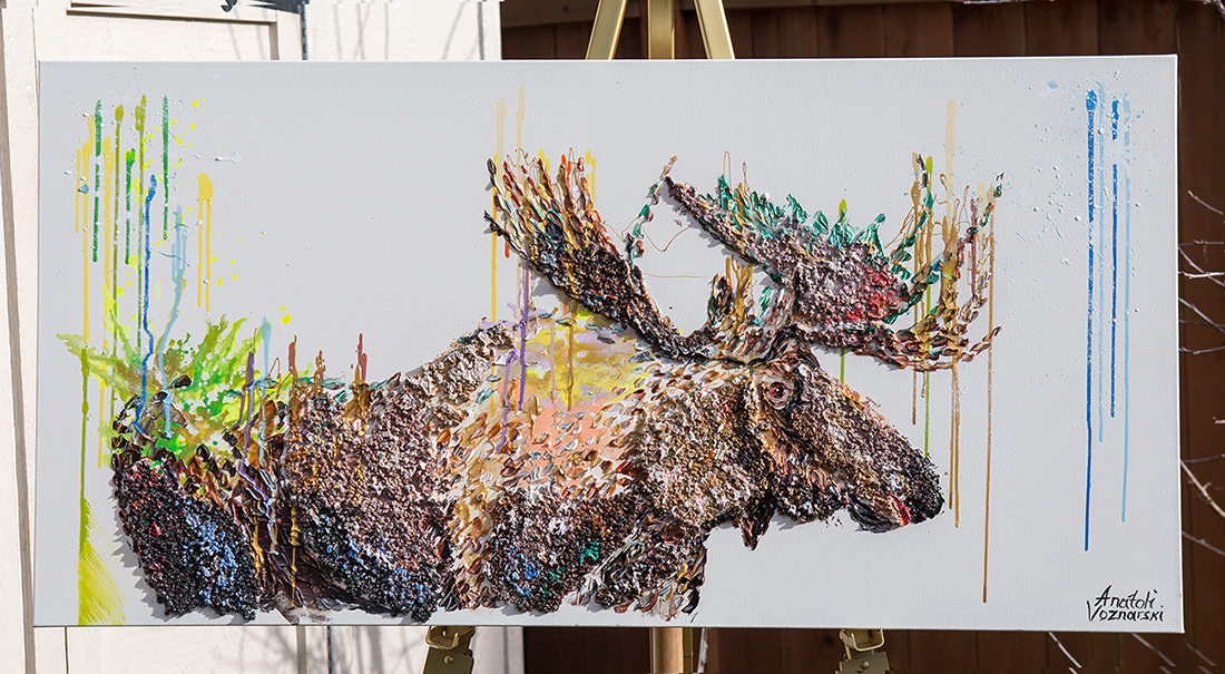 moose painting,moose 3d , abstract moose, moose pop art, moose mixed, moose acrylic, moose voznarski, moose wall art, unique moose, office painting, dot moose, modern moose, pointillism moose, original moose