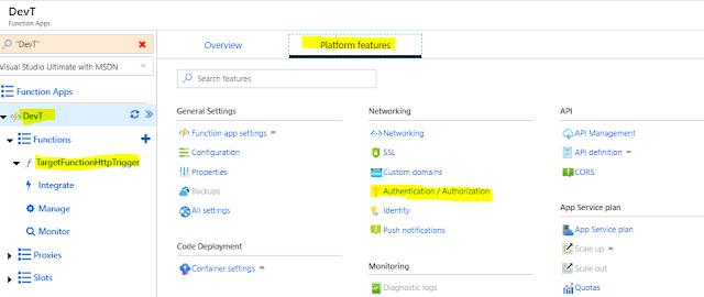 Platform features Function App