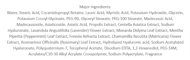 VT Cosmetics Cica Mild Foam Cleanser Ingredients