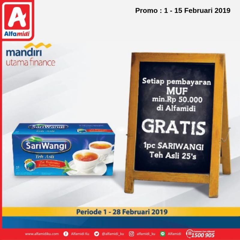 #Alfamidi - #Promo Bayar Mandiri Utama Finance Gratis Teh Asli Sari Wangi (s.d 15 Feb 2019)