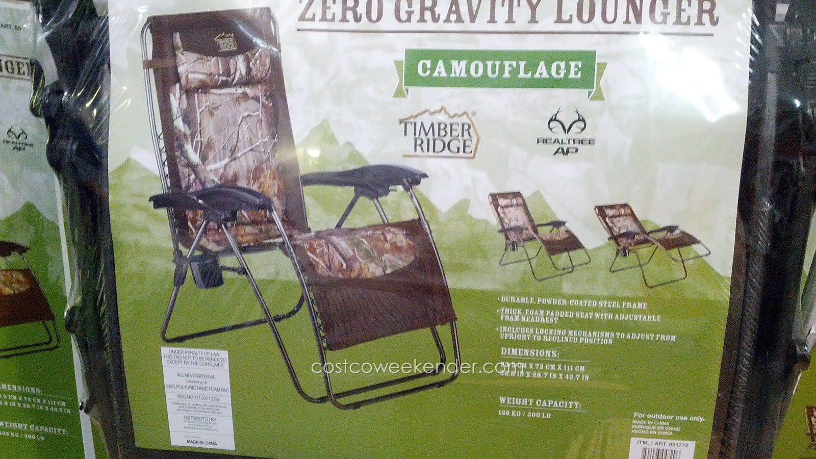 Zero Gravity Lounge Chair Costco Wing Chairs Slipcovers Timber Ridge Lounger Camouflage