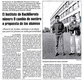 Noticia sobre el cambio de nombre del instituto (La Nueva España, 29/11/1994